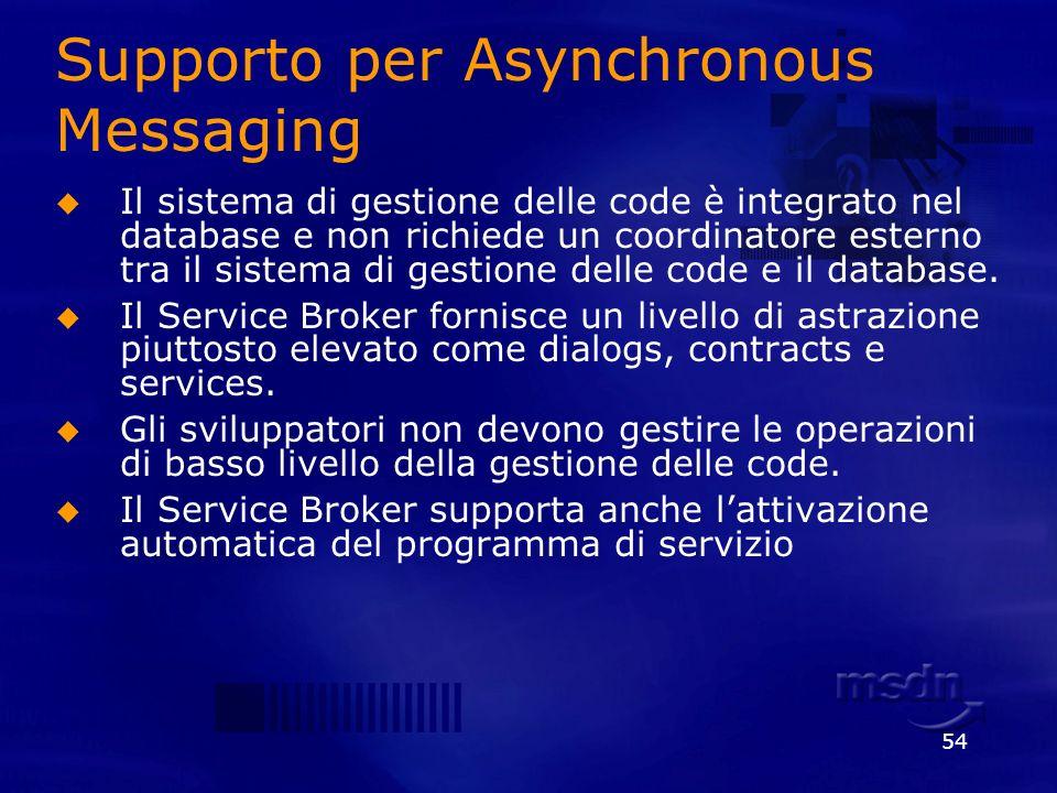 54 Supporto per Asynchronous Messaging Il sistema di gestione delle code è integrato nel database e non richiede un coordinatore esterno tra il sistem