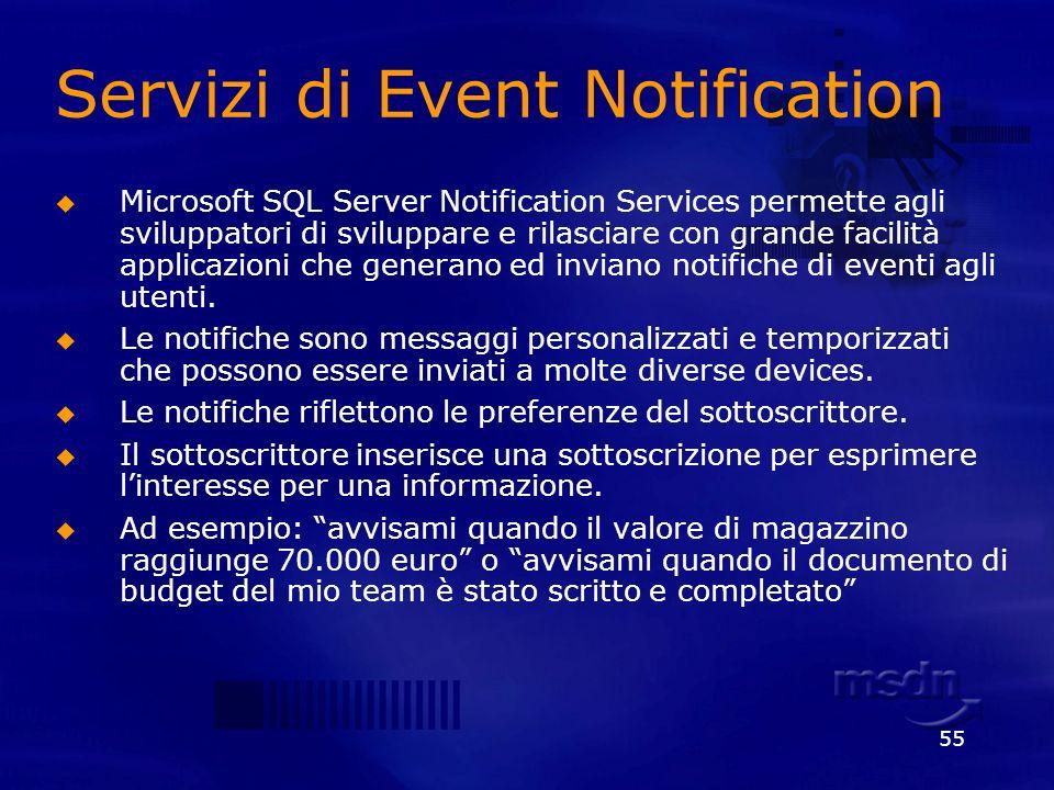 55 Servizi di Event Notification Microsoft SQL Server Notification Services permette agli sviluppatori di sviluppare e rilasciare con grande facilità