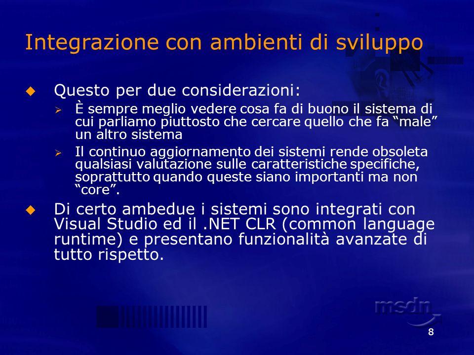 39 Integration Services Gli Integration Services forniscono un ambiente grafico in Visual Studio per creare workflows per estrarre, caricare e trasformare dati (ETL).