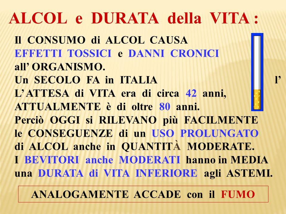 Il CONSUMO di ALCOL CAUSA EFFETTI TOSSICI e DANNI CRONICI all ORGANISMO. Un SECOLO FA in ITALIA l L ATTESA di VITA era di circa 42 anni, ATTUALMENTE è