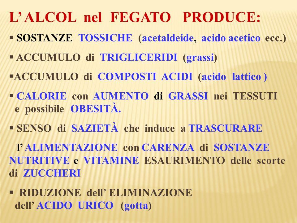 SOSTANZE TOSSICHE (acetaldeide, acido acetico ecc.) ACCUMULO di TRIGLICERIDI (grassi) ACCUMULO di COMPOSTI ACIDI (acido lattico ) CALORIE con AUMENTO