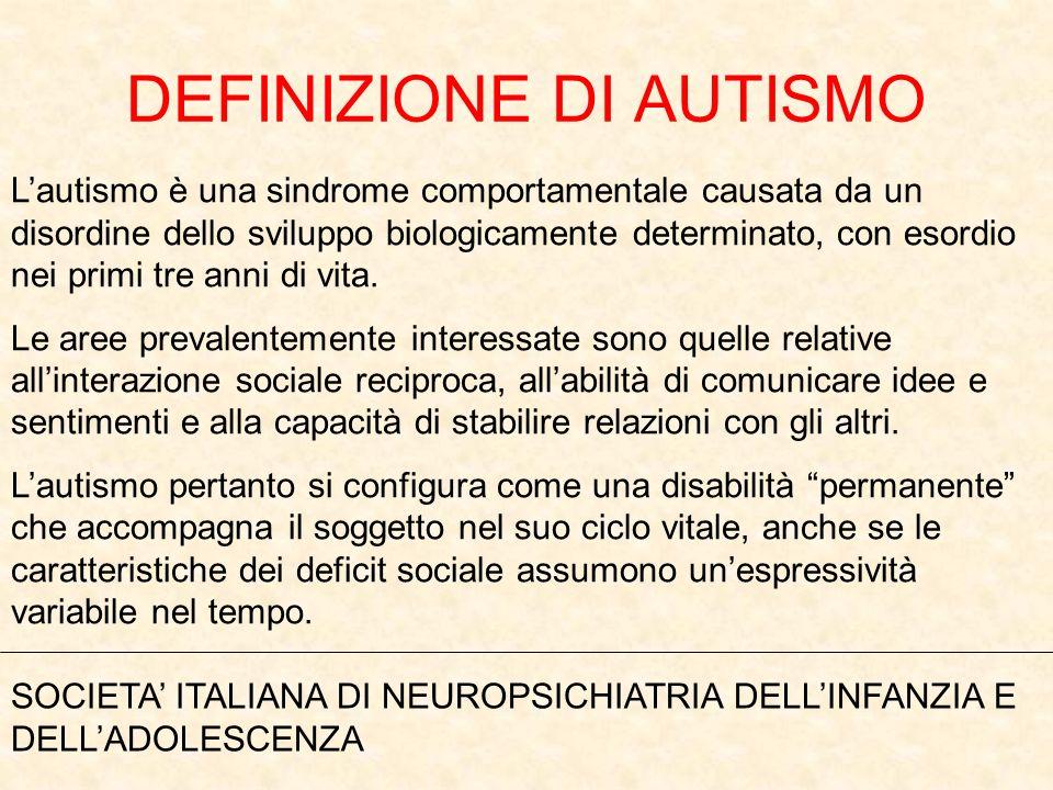 DEFINIZIONE DI AUTISMO Lautismo è una sindrome comportamentale causata da un disordine dello sviluppo biologicamente determinato, con esordio nei prim