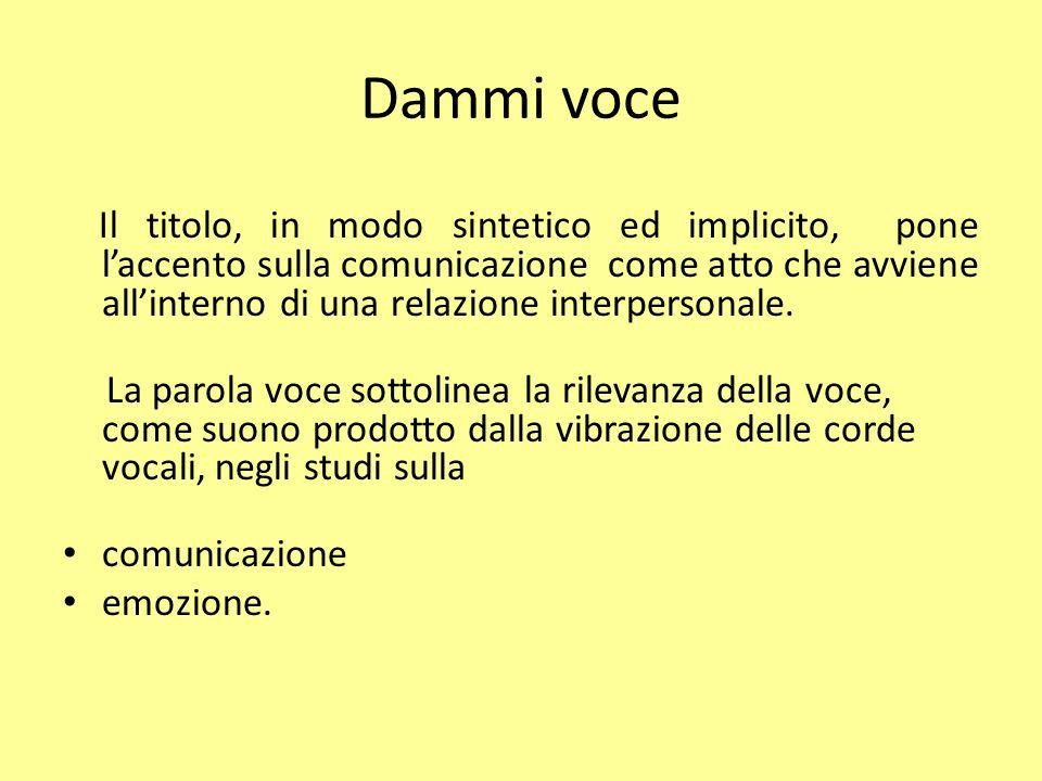 Dammi Voce Comunicazione umana Definizione (dizionario Zanichelli) trasferimento di informazioni codificate da una sorgente ad un destinatario attraverso un canale.