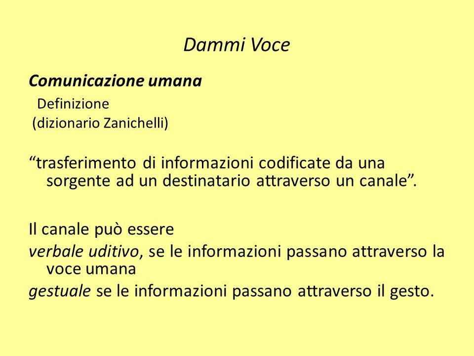 Dammi voce Ogni comunicazione va inserita nel contesto in cui avviene, nelle coordinate spazio temporali che caratterizzano la situazione.