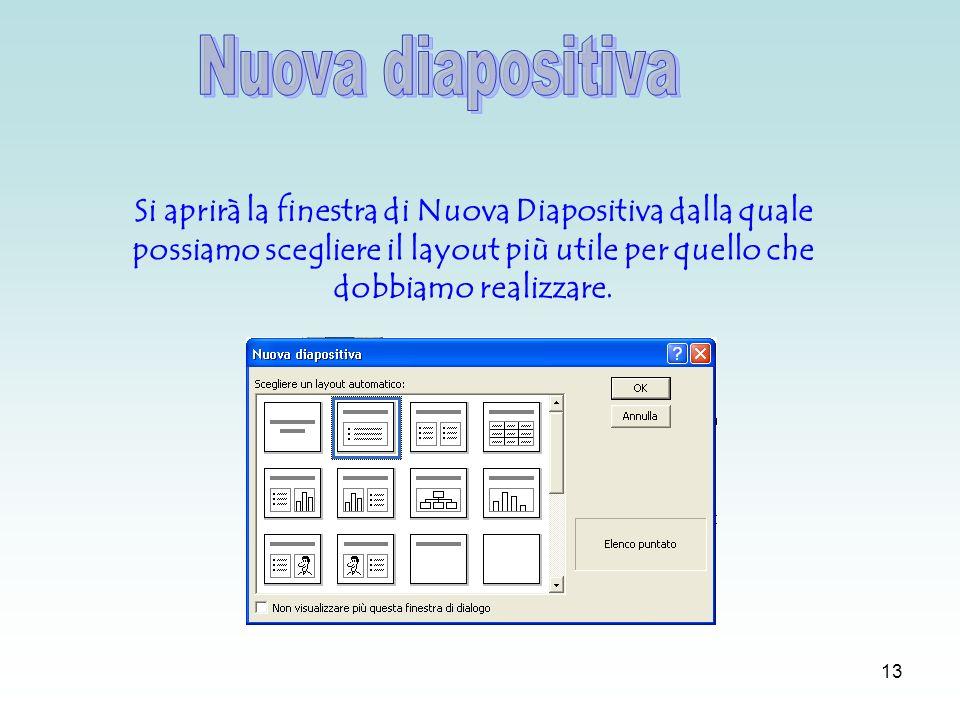 12 Per inserire una nuova diapositiva bisogna andare nel menù Inserisci e scegliere Nuova diapositiva.