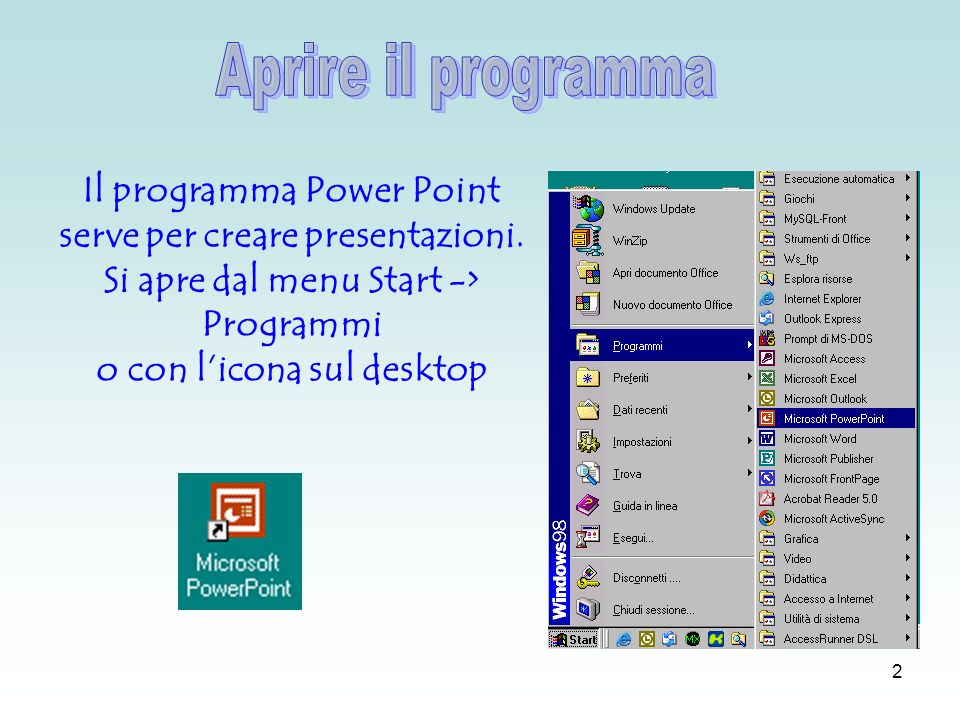 2 Il programma Power Point serve per creare presentazioni.