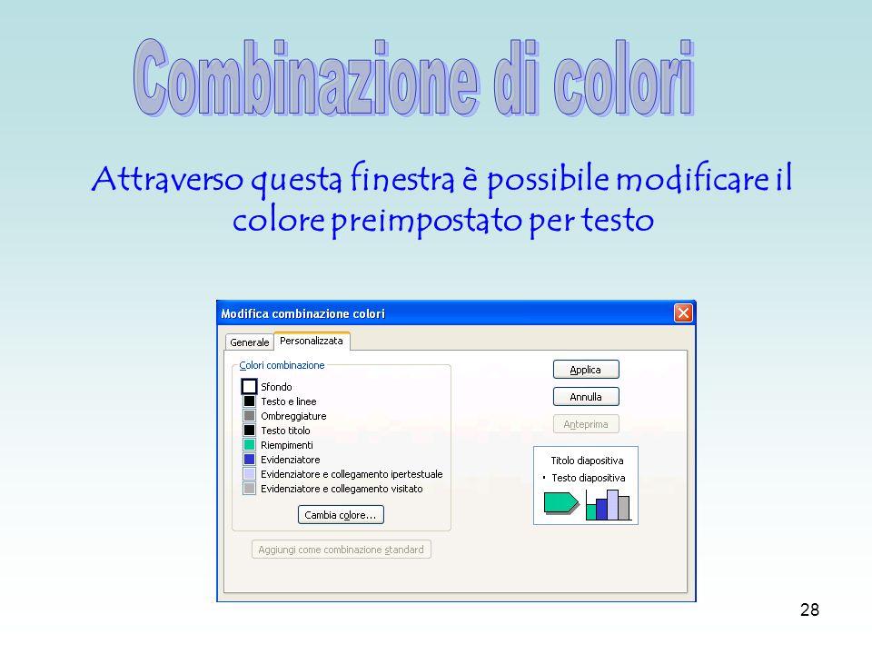 27 Per modificare la combinazione dei colori (per testo, collegamenti …) occorre andare nel menu struttura ed operare sul riquadro attività a destra.