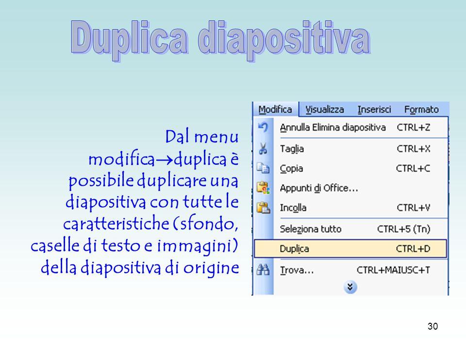 29 Dal menu inserisci diagramma si apre la finestra Raccolta diagrammi attraverso la quale è possibile inserire, per esempio, un organigramma