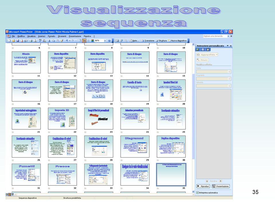 34 Dal menu visualizza è possibile accedere alla visualizzazione sequenza attraverso la quale operare per copiare, incollare, ecc..