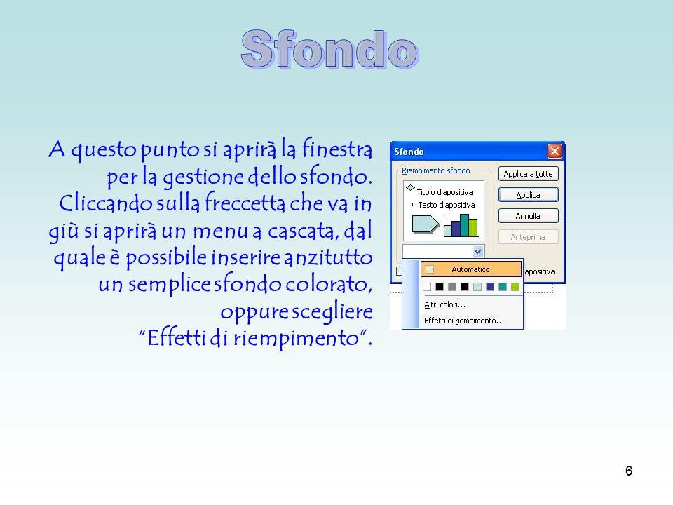 5 Per inserire uno sfondo personalizzato è sufficiente cliccare con il pulsante destro in un area libera della diapositiva e scegliere il comando Sfondo.