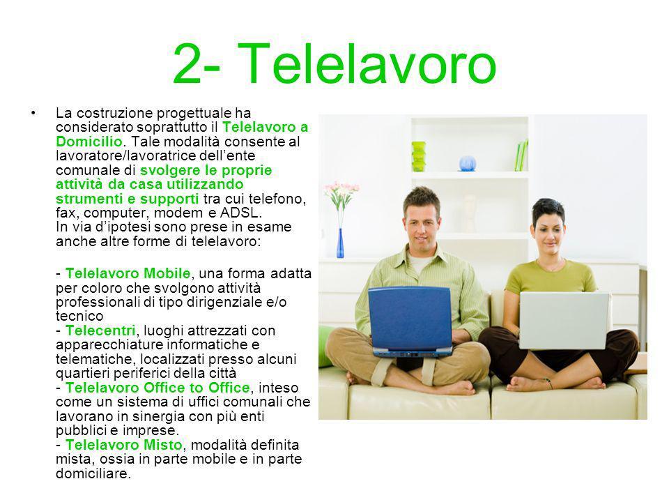 2- Telelavoro La costruzione progettuale ha considerato soprattutto il Telelavoro a Domicilio.