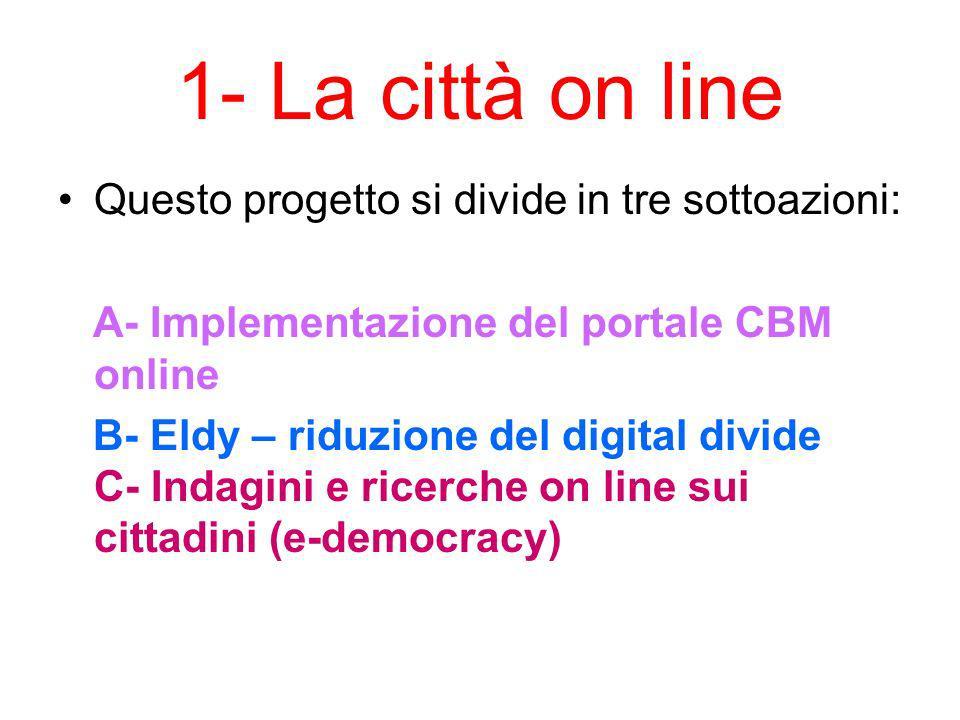 1- La città on line Questo progetto si divide in tre sottoazioni: A- Implementazione del portale CBM online B- Eldy – riduzione del digital divide C- Indagini e ricerche on line sui cittadini (e-democracy)