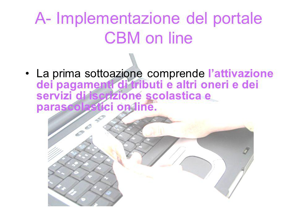 A- Implementazione del portale CBM on line La prima sottoazione comprende lattivazione dei pagamenti di tributi e altri oneri e dei servizi di iscrizione scolastica e parascolastici on line.