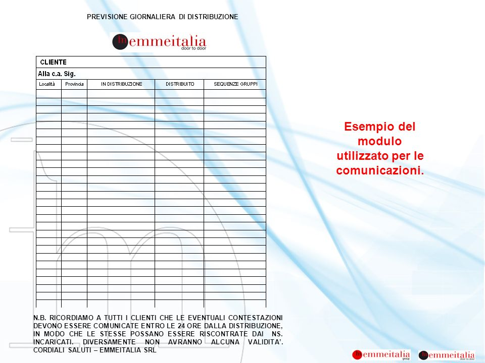 Esempio del modulo utilizzato per le comunicazioni. PREVISIONE GIORNALIERA DI DISTRIBUZIONE N.B. RICORDIAMO A TUTTI I CLIENTI CHE LE EVENTUALI CONTEST
