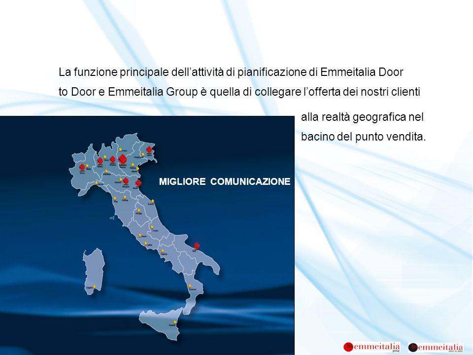 La funzione principale dellattività di pianificazione di Emmeitalia Door to Door e Emmeitalia Group è quella di collegare lofferta dei nostri clienti