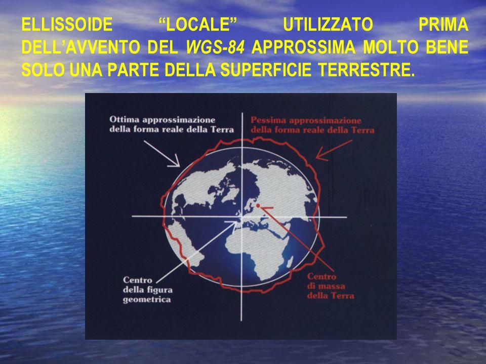 ELLISSOIDE LOCALE UTILIZZATO PRIMA DELLAVVENTO DEL WGS-84 APPROSSIMA MOLTO BENE SOLO UNA PARTE DELLA SUPERFICIE TERRESTRE.