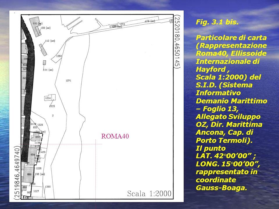 Fig. 3.1 bis. Particolare di carta (Rappresentazione Roma40, Ellissoide Internazionale di Hayford, Scala 1:2000) del S.I.D. (Sistema Informativo Deman