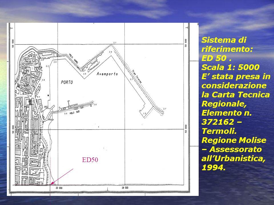 Sistema di riferimento: ED 50. Scala 1: 5000 E stata presa in considerazione la Carta Tecnica Regionale, Elemento n. 372162 – Termoli. Regione Molise