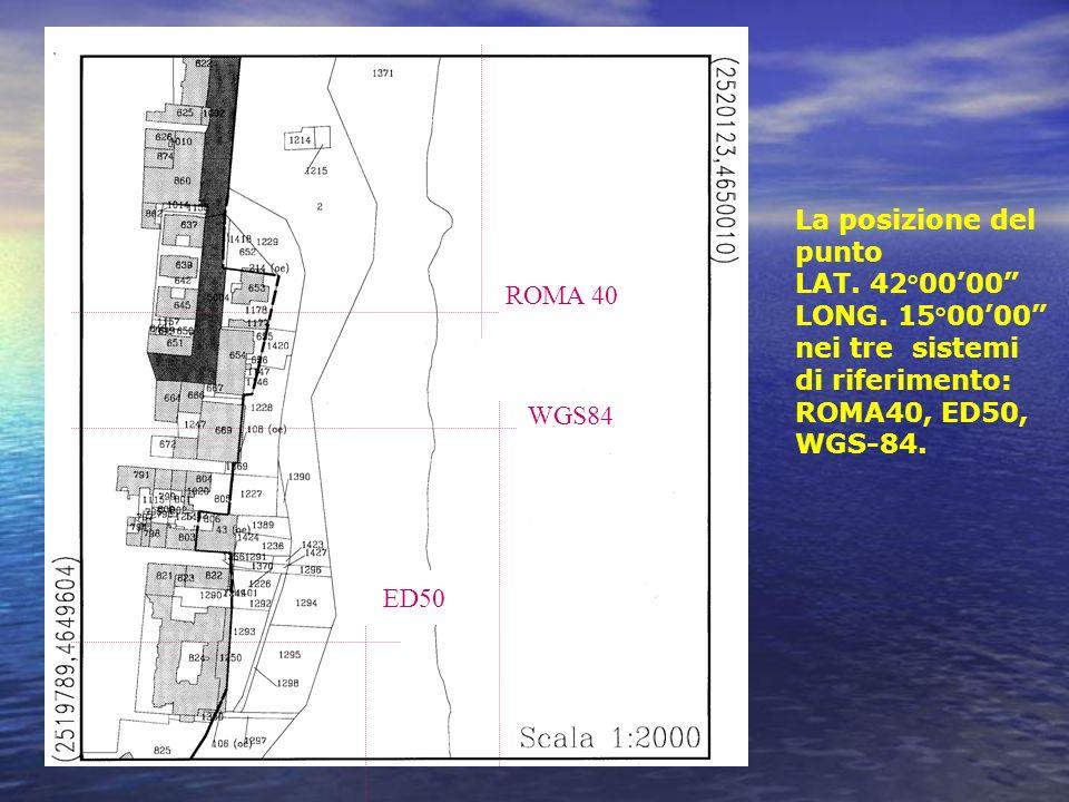 La posizione del punto LAT. 42°0000 LONG. 15°0000 nei tre sistemi di riferimento: ROMA40, ED50, WGS-84. ED50 WGS84 ROMA 40