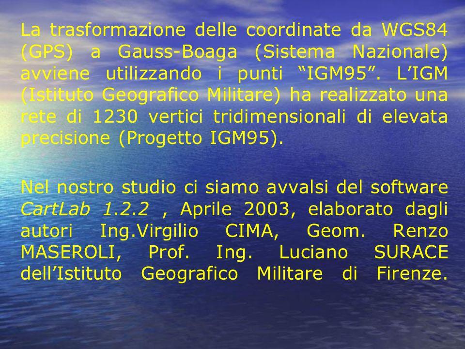 Nel nostro studio ci siamo avvalsi del software CartLab 1.2.2, Aprile 2003, elaborato dagli autori Ing.Virgilio CIMA, Geom. Renzo MASEROLI, Prof. Ing.