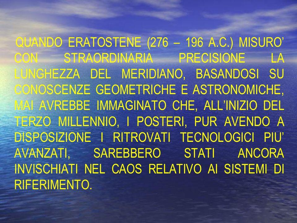 QUANDO ERATOSTENE (276 – 196 A.C.) MISURO CON STRAORDINARIA PRECISIONE LA LUNGHEZZA DEL MERIDIANO, BASANDOSI SU CONOSCENZE GEOMETRICHE E ASTRONOMICHE,