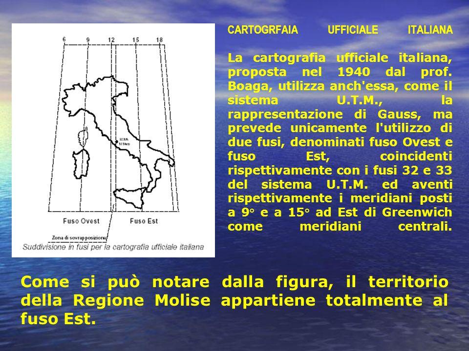 CARTOGRFAIA UFFICIALE ITALIANA La cartografia ufficiale italiana, proposta nel 1940 dal prof. Boaga, utilizza anch'essa, come il sistema U.T.M., la ra