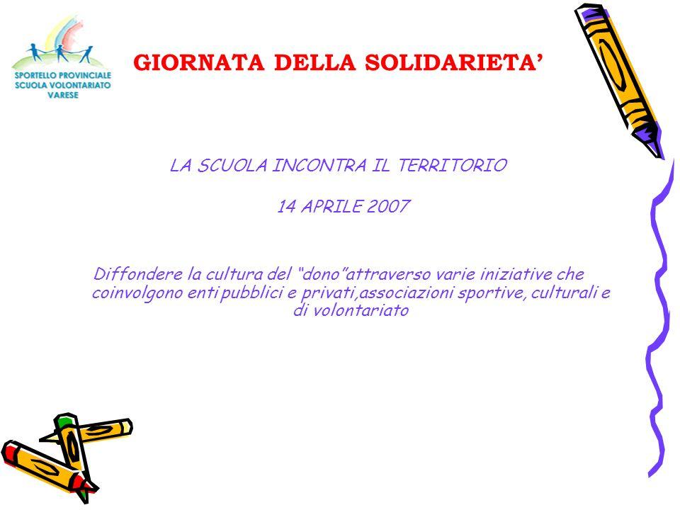 GIORNATA DELLA SOLIDARIETA LA SCUOLA INCONTRA IL TERRITORIO 14 APRILE 2007 Diffondere la cultura del donoattraverso varie iniziative che coinvolgono e