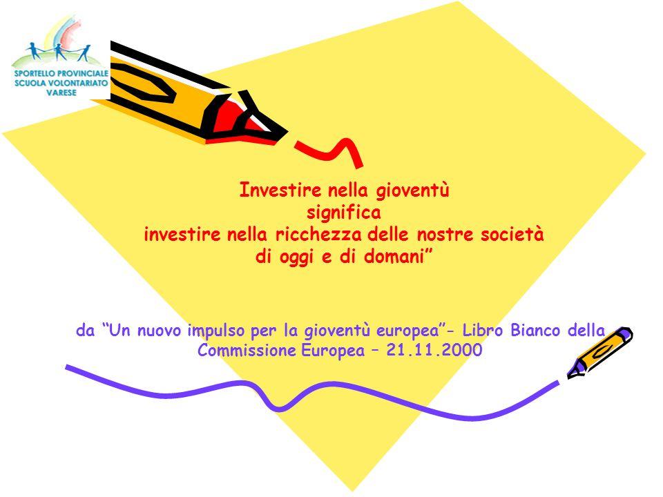 Investire nella gioventù significa investire nella ricchezza delle nostre società di oggi e di domani da Un nuovo impulso per la gioventù europea- Libro Bianco della Commissione Europea – 21.11.2000