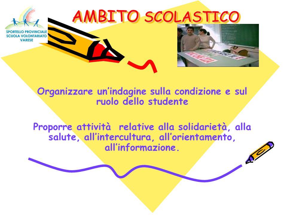 AMBITO SCOLASTICO AMBITO SCOLASTICO Organizzare unindagine sulla condizione e sul ruolo dello studente Proporre attività relative alla solidarietà, alla salute, allintercultura, allorientamento, allinformazione.