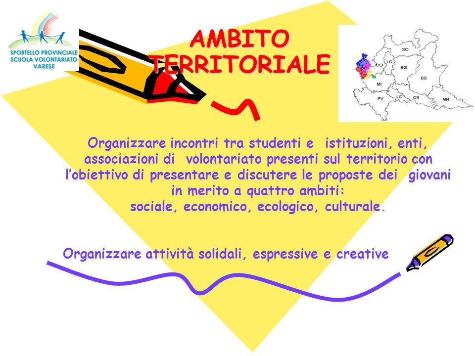 AMBITO TERRITORIALE Organizzare incontri tra studenti e istituzioni, enti, associazioni di volontariato presenti sul territorio con lobiettivo di pres