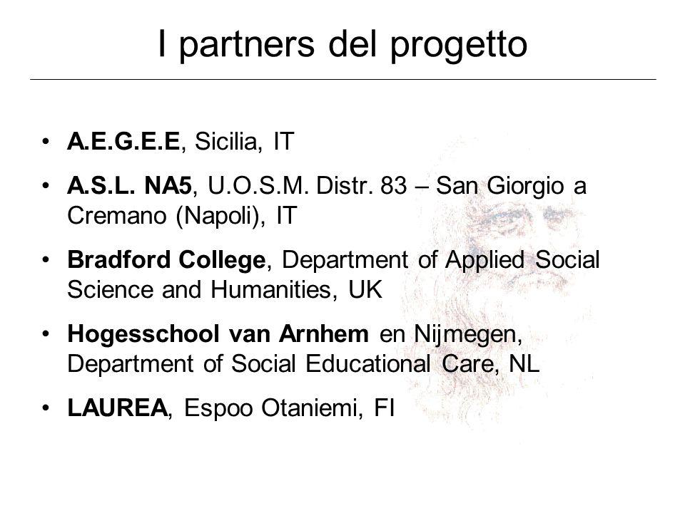 I partners del progetto A.E.G.E.E, Sicilia, IT A.S.L. NA5, U.O.S.M. Distr. 83 – San Giorgio a Cremano (Napoli), IT Bradford College, Department of App