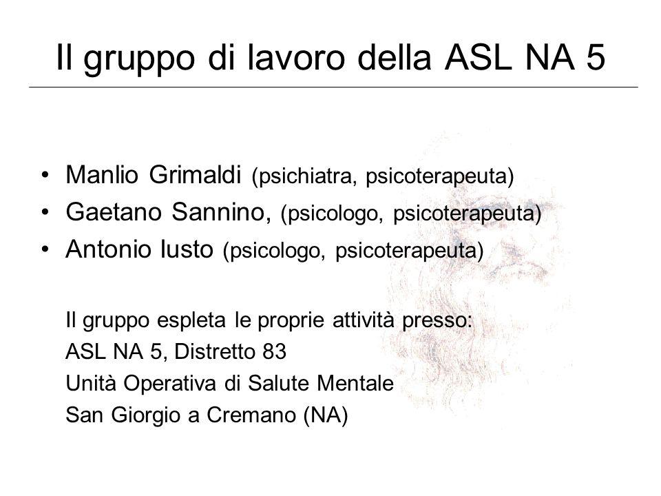 Il gruppo di lavoro della ASL NA 5 Manlio Grimaldi (psichiatra, psicoterapeuta) Gaetano Sannino, (psicologo, psicoterapeuta) Antonio Iusto (psicologo,
