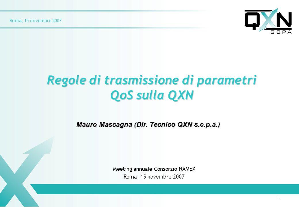 Roma, 15 novembre 2007 Regole di trasmissione di parametri QoS sulla QXN Mauro Mascagna (Dir. Tecnico QXN s.c.p.a.) Meeting annuale Consorzio NAMEX Ro