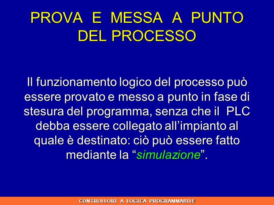 PROVA E MESSA A PUNTO DEL PROCESSO Il funzionamento logico del processo può essere provato e messo a punto in fase di stesura del programma, senza che