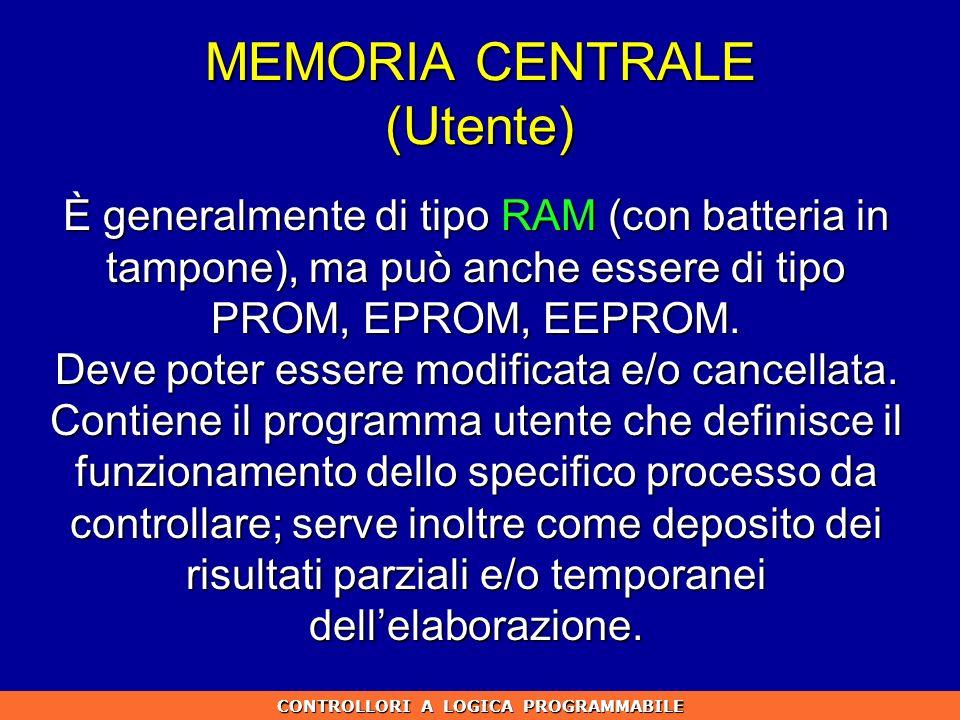 MEMORIA CENTRALE (Utente) È generalmente di tipo RAM (con batteria in tampone), ma può anche essere di tipo PROM, EPROM, EEPROM. Deve poter essere mod