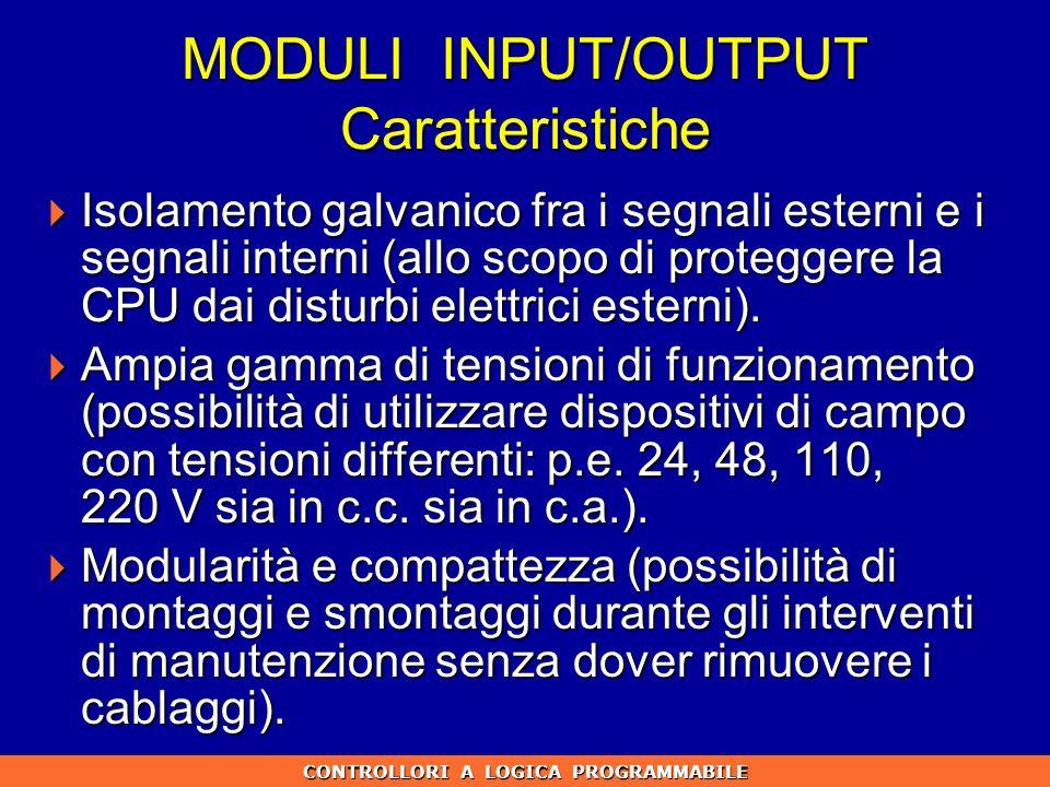 MODULI INPUT/OUTPUT Caratteristiche Isolamento galvanico fra i segnali esterni e i segnali interni (allo scopo di proteggere la CPU dai disturbi elett