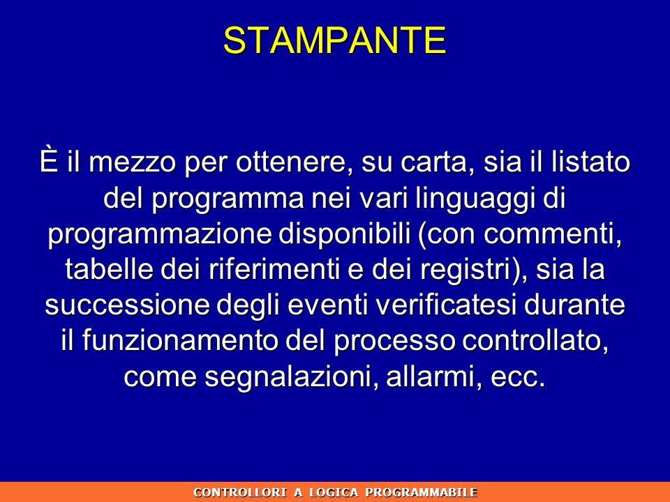 STAMPANTE È il mezzo per ottenere, su carta, sia il listato del programma nei vari linguaggi di programmazione disponibili (con commenti, tabelle dei
