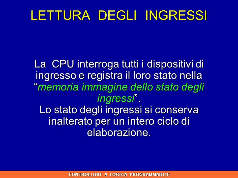 LETTURA DEGLI INGRESSI La CPU interroga tutti i dispositivi di ingresso e registra il loro stato nellamemoria immagine dello stato degli ingressi. Lo