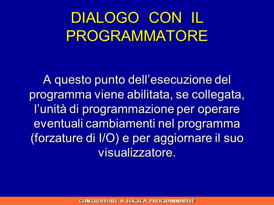 DIALOGO CON IL PROGRAMMATORE A questo punto dellesecuzione del programma viene abilitata, se collegata, lunità di programmazione per operare eventuali