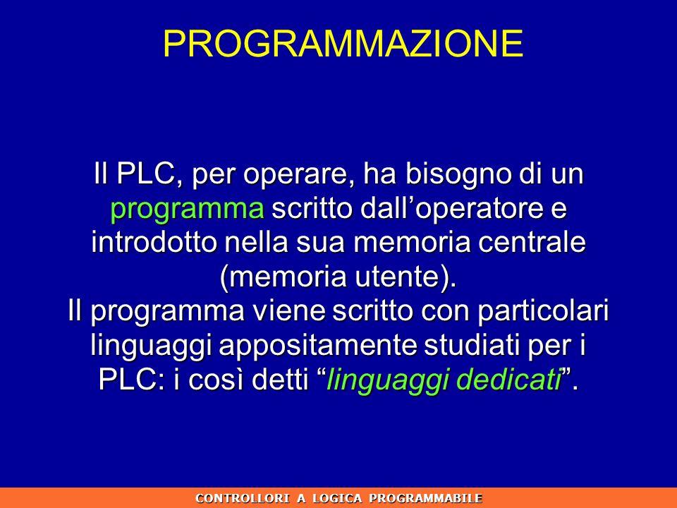 Il PLC, per operare, ha bisogno di un programma scritto dalloperatore e introdotto nella sua memoria centrale (memoria utente). Il programma viene scr