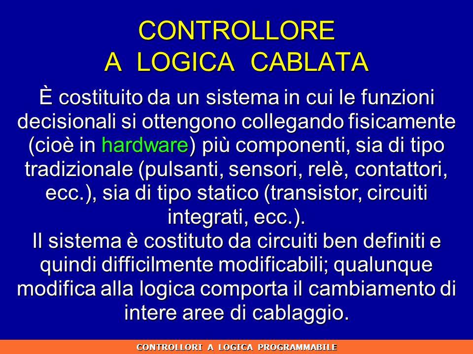 CONTROLLORE A LOGICA CABLATA CONTROLLORI A LOGICA PROGRAMMABILE È costituito da un sistema in cui le funzioni decisionali si ottengono collegando fisi