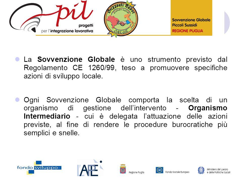 La Sovvenzione Globale è uno strumento previsto dal Regolamento CE 1260/99, teso a promuovere specifiche azioni di sviluppo locale.