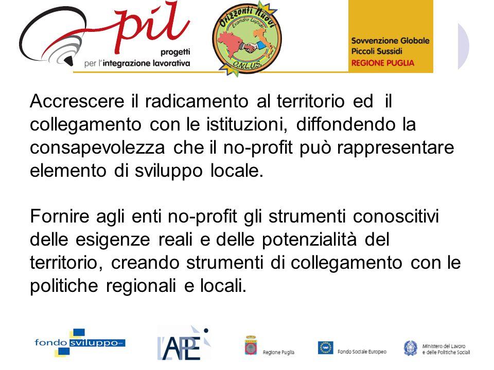 Accrescere il radicamento al territorio ed il collegamento con le istituzioni, diffondendo la consapevolezza che il no-profit può rappresentare elemento di sviluppo locale.