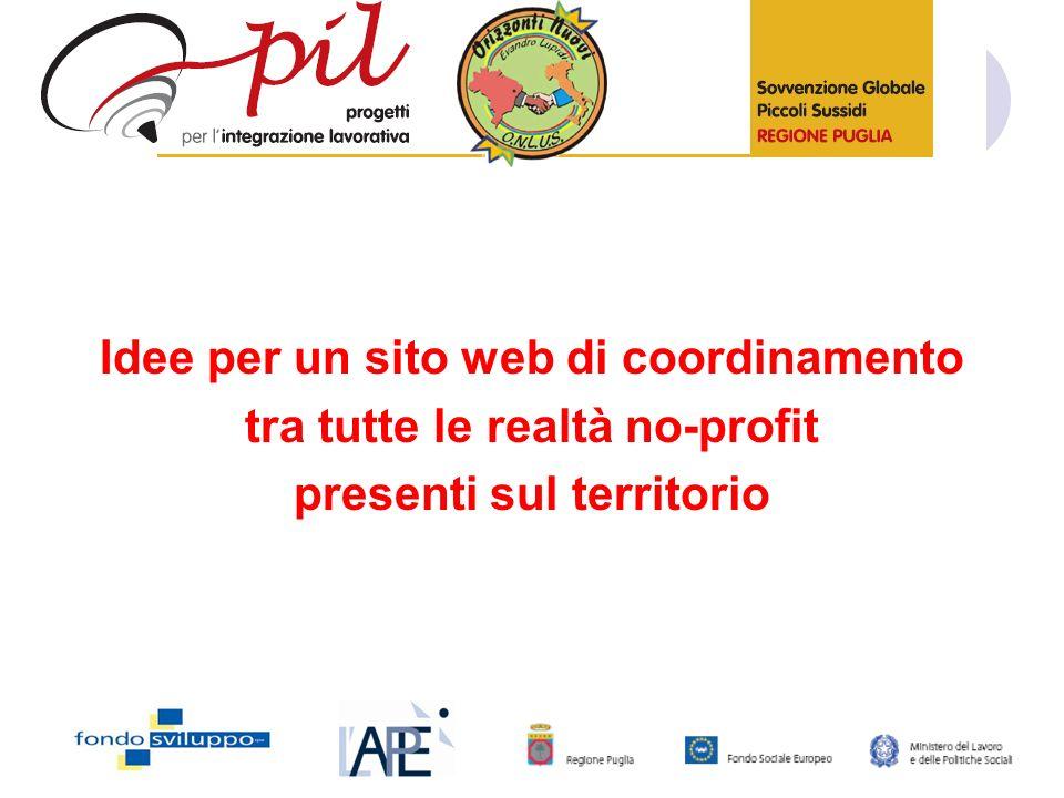 Idee per un sito web di coordinamento tra tutte le realtà no-profit presenti sul territorio
