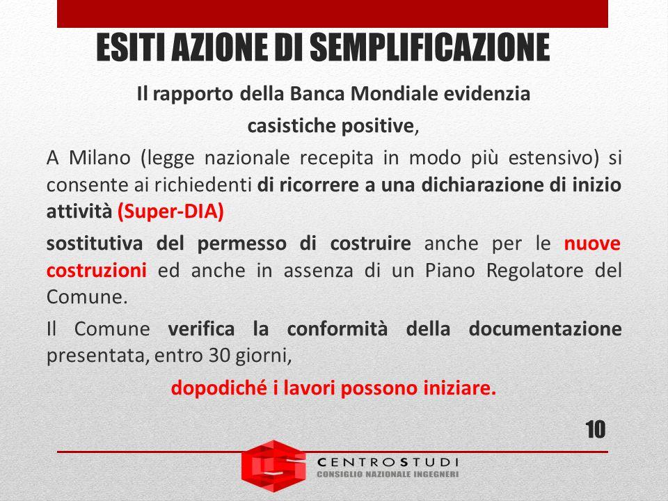 Il rapporto della Banca Mondiale evidenzia casistiche positive, A Milano (legge nazionale recepita in modo più estensivo) si consente ai richiedenti d