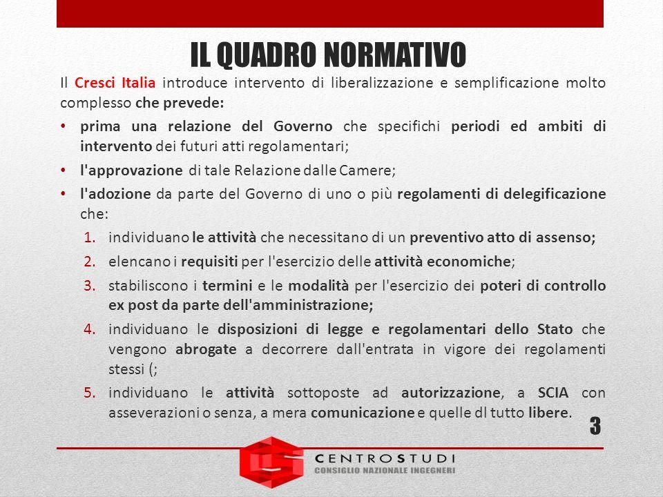 Il Cresci Italia introduce intervento di liberalizzazione e semplificazione molto complesso che prevede: prima una relazione del Governo che specifich