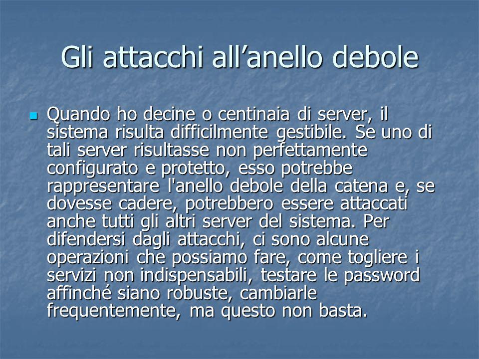 Gli attacchi allanello debole Quando ho decine o centinaia di server, il sistema risulta difficilmente gestibile.
