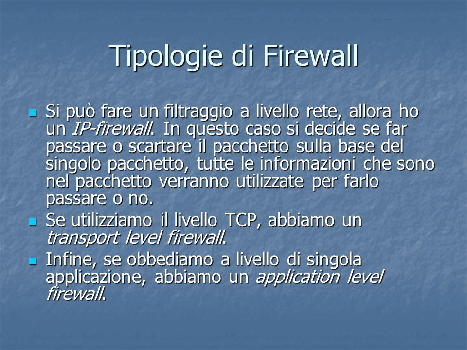 Tipologie di Firewall Si può fare un filtraggio a livello rete, allora ho un IP-firewall.
