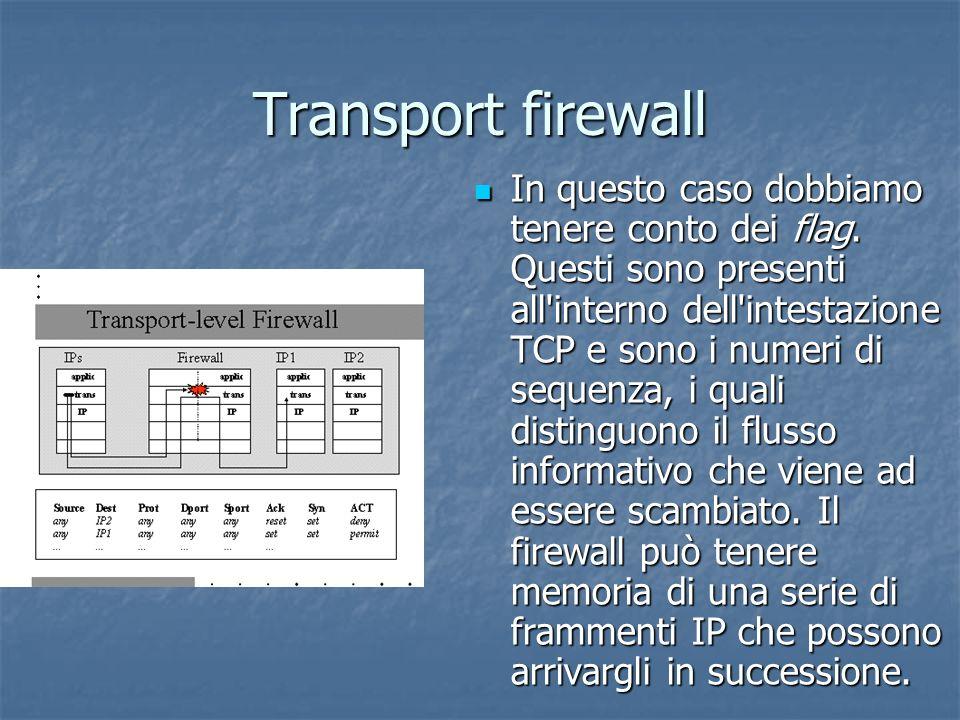 Transport firewall In questo caso dobbiamo tenere conto dei flag.