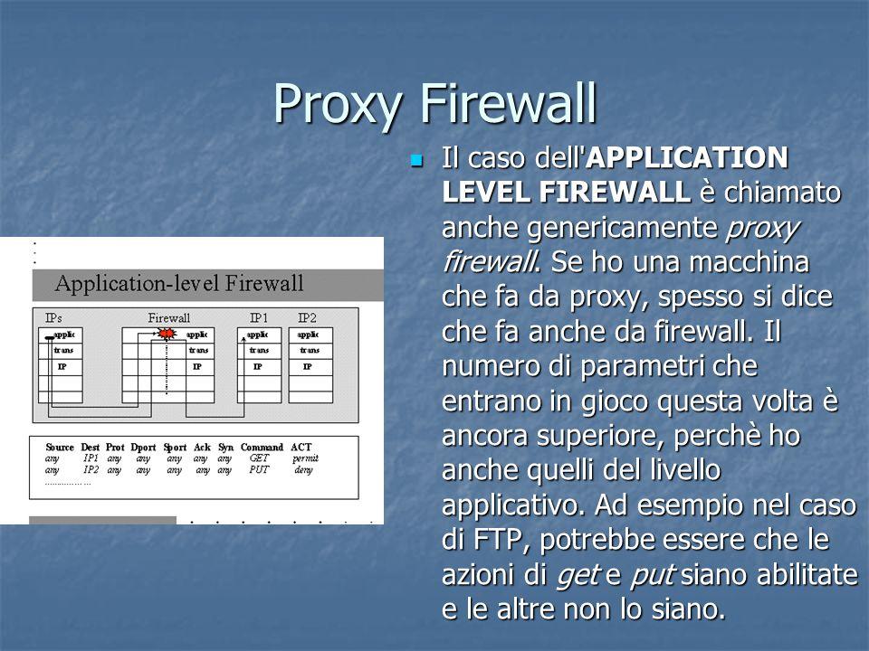 Proxy Firewall Il caso dell APPLICATION LEVEL FIREWALL è chiamato anche genericamente proxy firewall.